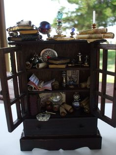 Gothic Witch Wizard Hutch dollhouse miniature ooak Halloween. $35.50, via Etsy.