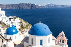 Iconic Blue Domes in Oia, Santorini, Greece