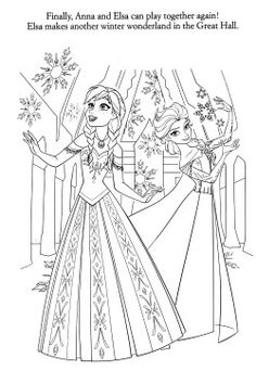 Disney Printable Coloring Pages From Frozen Featuring Anna And Elsa