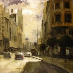 To the direction, Callao - Oil on canvas x 89 cm. Contemporary Paintings, City Painting, Landscape Paintings, Fine Art, Urban Art, Emotional Painting, Painting, Beautiful Paintings, Architecture Art