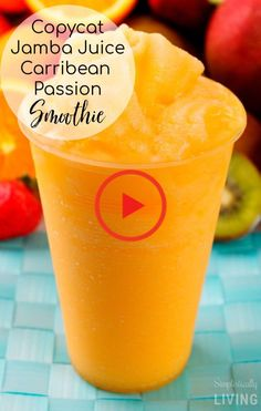 Save money and get healthy by making your own homemade Jamba Juice Caribbean Passion Smoothies! Baked Chicken Recipes, Shrimp Recipes, Crockpot Recipes, Jamba Juice, Make Your Own, Make It Yourself, How To Make, Ground Turkey Recipes, Smoothies
