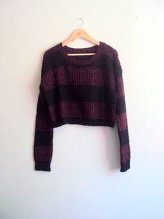 Chunky Crop Sweater Knit Boyfriend Sweater Heather Burgundy Black Striped Pullover Long Sleeves Loose Sweater Women Fashion Tops Streetwear by GrahamsBazaar