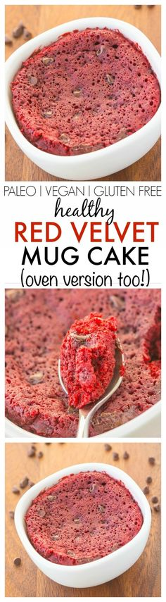 Healthy Red Velvet Mug Cake- Fluffy, moist yet tender on the outside, this mug cake takes 1 minute but has an oven option too! {vegan, gluten free, paleo recipe options}