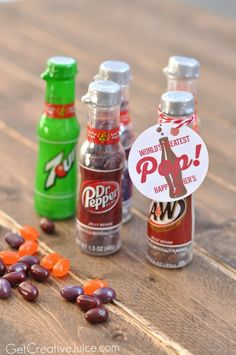 Jelly Belly Soda Pop Shoppe Bottles are an easy addition to your Father's Day Gift Idea. Find more ideas like this and free printables at Creative Juice.
