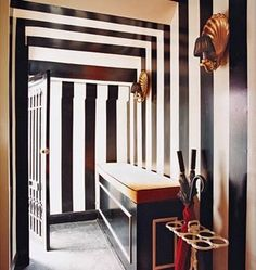 Black And White Stripes Decor Decorate Entrance Hall Entry