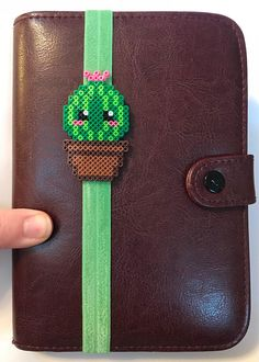 Cactus Cutie Planner Band Bookmark Page Marker Planner Check out Happy Hearts Paper Co. on Etsy and Instagram for more fun planner ideas and Perler bead planner accessories and bookmarks. #planners #planner #happyplanner #plannerideas #cactus #planneraccessories #perlerbeads #bookmark #crafts