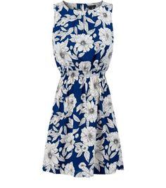Dark Blue Sleeveless Floral Print Skater Dress  - Newlook