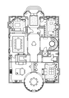 Cut the size in half, leave the round dining room Hotel Floor Plan, House Floor Plans, Bunker Home, Sims 4 House Building, Hall Flooring, Villa Plan, Concept Home, House Layouts, Architecture Plan