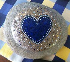Happy+Rock++Navy+HEART....+Painted+River+Rock+by+LynnsFunCreations