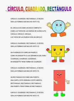 CANTORES INFANTILES: CÍRCULO, CUADRADO, RECTÁNGULO Spanish Songs, Spanish Class, Preschool Songs, Math Activities, Classroom Rules, Early Childhood, Montessori, Teacher, Gta