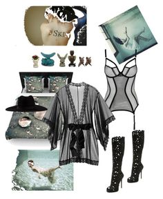 """""""Sicilian summer"""" by palmgrass99 ❤ liked on Polyvore featuring Kess InHouse, L'Agent By Agent Provocateur, Giuseppe Zanotti, Filù Hats and Kiki de Montparnasse"""