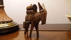 Hand carved wooden donkey