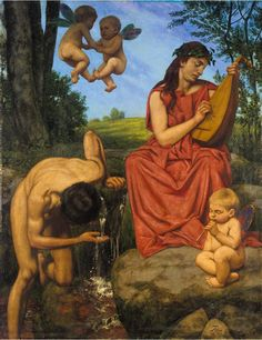 Die Quelle (The Spring) By Hans Thoma - Famous Art - Handmade Oil Painting On Canvas — Canvas Paintings Hans Holbein, Hans Thoma, Carl Spitzweg, Detailed Paintings, Country Scenes, Modern Artists, Renaissance Art, Oil Painting On Canvas, Canvas Paintings
