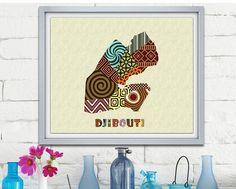 Djibouti Map Art Print Wall Decor, Djibouti Poster African Art Print, Djibouti city Africa, African Map Poster AVAILABLE @ $15