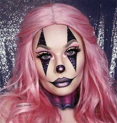50 Attractive And Fabulous Halloween Makeup Ideas For Your Halloween Inspiration - Page 14 of 50 - Chic Hostess Maquillage Halloween Clown, Halloween Makeup Clown, Halloween Eyes, Halloween Looks, Easy Clown Makeup, Pink Halloween Costumes, Ghost Makeup, Circus Makeup, Scary Makeup