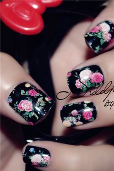 I would do my ring finger floral and the rest a pink or navy