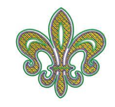 MARDI GRAS Fleur de lis Embroidery Design 3 Size 8 by SewingDivine, $4.99