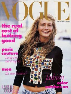 First mag cover featuring a model in jeans. Anna Wintour's first issue at Vogue. Christian Lacroix Jacket, Guess Jeans styled by Carlyne Cerf de Dudzeele.