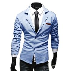 Generic Mens Casual Dress Slim Fit Stylish two button Fashion Suit Blazer Jackets Coats (M, Light blue), http://www.amazon.com/dp/B00EU76YYA/ref=cm_sw_r_pi_awd_46Krsb0A7RCYD