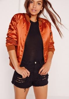 Premium Satin Bomber Jacket Orange