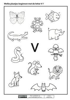 Welk plaatje begint met de letter V?