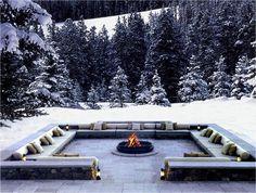 WOW!! Love the sunken outdoor seating...fire pit...& snow...The Chedi Andermatt Resort, Switzerland