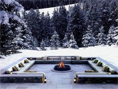 WOW!!  Love the sunken outdoor seating...fire pit... snow...The Chedi Andermatt Resort, Switzerland