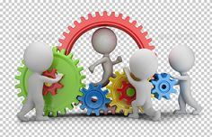 3D Small People - Team Mechanism by AnatolyM 3d small people  team twisting multicolored gears. 3d image. Transparent high resolution PNG with shadows.