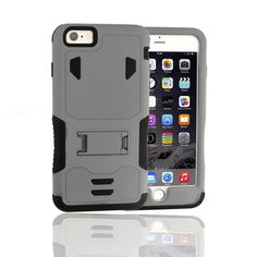 Iphone 6 Plus Case,qcute [Heavy Duty] Premium Dual Layer 2 in 1 Rugged Hybrid Soft Shockproof Rugged Rubber Protective Case with Kickstand for Iphone 6 Plus (Grey). 1.Perfect fit, easy to install and remove the iPhone 6 Plus dual layer hybrid phone case skin. 2. Tough and slim, form fitting hard-shell construction with soft core. 3. Luxurious and fashion surface with natural, comfortable grip. 4. Hybrid soft shock absorption TPU skin & impact-resistant polycarbonate hard shell provide...