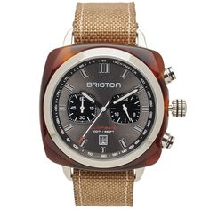 Buy the Briston Clubmaster Sport Chronograph Watch in Grey & Tortoise from leading mens fashion retailer END. - only Fast shipping on all latest Briston products Sport Watches, Watches For Men, Clean Design, Square Watch, Tortoise Shell, Omega Watch, Chronograph, Mens Fashion, Style
