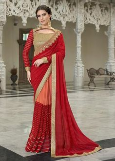 Red Colored Embroidered Chiffon Georgette Net Partywear Saree - 97048