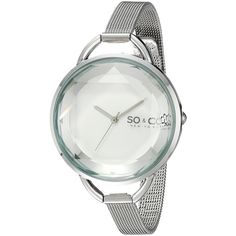 SO&CO New York.1 SoHo Quartz Faceted Glass and Stainless Steel Mesh... ($43) ❤ liked on Polyvore featuring jewelry, watches, mesh watch bracelet, slim watches, stainless steel jewelry, stainless steel watch bracelet and quartz wrist watch