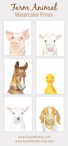 Watercolor Farm Animal Art Prints - Set of 6 - Lamb Horse Pig Goat Duck and Cow - Neutral Nursery Decor PORTRAIT-Vertical Orientation - Girls room‍♀️ - Farm Animal Nursery, Baby Farm Animals, Nursery Art, Nursery Prints, Nursery Decor, Farm Nursery, Nursery Rugs, Nursery Ideas, Windsor