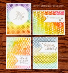 Watercolor + Embossing Folders Video by Jennifer McGuire Ink ink on one side or the other of the embossing folder before embossing, ink after embossing, spritz, spritz, spirtz!
