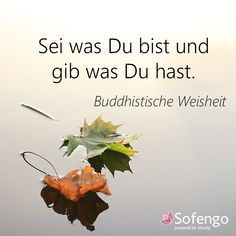 Sei was Du bist und gib was Du hast.- Buddhistische Weisheit