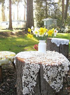 lacey tree stumps I liked to place lace on the stumps and spray paint and remove and see how that looks