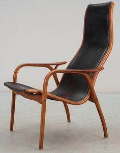 Yngve Ekström; Birch and Leather 'Lamino' Armchair for Swedese, 1956.