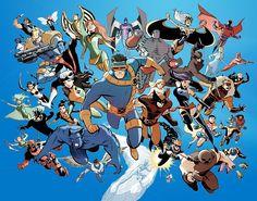 X MEN: Warpath – Pixie – Banshee – Archangel – Colossus – Storm- Magneto – Mystique – Cable – Nightcrawler – Phoenix – Cyclops – Gambit- Dazzler – Sunfire – X 23 – Rogue – Emma Frost – Psylocke – Sabretooh – Longshot – Bishop – Forge Jubilee – Cannoball – Iceman – Mimic- Beast – Kitty Pryde – Havok – Polaris – Marrow – Deadpool – Beast – Juggernaut – Maggot .