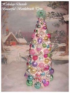 "sHabby 20"" Fancy Pink Bottlebrush Xmas Tree Mica Flocked & Vtg Antique Ornaments in Collectibles, Holiday & Seasonal, Christmas: Modern (1946-90)   eBay"