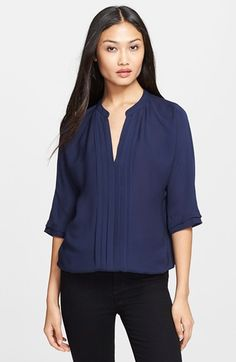 Free shipping and returns on Joie 'Marru' Semi-Sheer Silk Blouse at Nordstrom.com. Pleating runs along the split neck of a semi-sheer silk blouse and continues down the center front.
