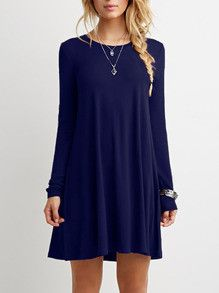 Casual Blue Shift Long Sleeve Dress