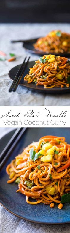 Vegan Coconut Curry With Spiralized Sweet Potato Noodles This Curry Is Ultra Creamy And Loaded With Veggies, For A Quick And Easy, Healthy Dinner That Is Gluten Free And Vegan Friendly Foodfaithfit Veggie Recipes, Asian Recipes, Whole Food Recipes, Vegetarian Recipes, Cooking Recipes, Healthy Recipes, Free Recipes, Noodle Recipes, Vegetarian Ramen
