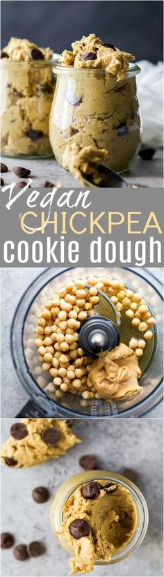 Vegan Chickpea Cookie Dough made in a blender. A healthy eggless no bake cookie dough recipe to satisfy that sweet tooth! {gluten free, refined sugar free, dairy free} #Vegetariancooking