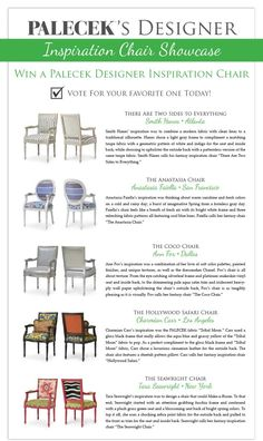 PALECEK's Designer Inspiration Chair Showcase Contest & Giveaway - Vote For & Enter to Win Your Favorite Chair Valued at Over $1000