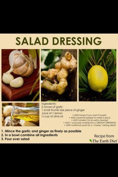 Raw for beauty--- salad dressing Ginger Salad Dressings, Salad Dressing Recipes, Vegan Dressings, Turmeric And Pepper, Raw For Beauty, Raw Food Recipes, Healthy Recipes, Yummy Recipes, Vegetarian Recipes