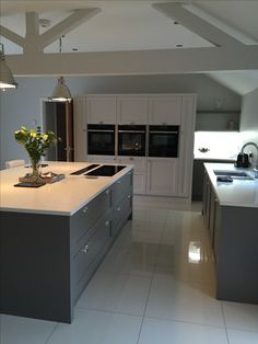 "Kitchen design with Farrow & Ball ""Moles Breath"" on the island and bottom units and ""Skimming Stone"" on the back unit. Open Plan Kitchen Living Room, Barn Kitchen, Kitchen Family Rooms, Kitchen Units, New Kitchen, Kitchen Interior, Kitchen Dining, Kitchen Island, Kitchen Ideas"