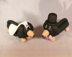 Daschund Weiner Dog Wedding Cake Topper by cockTHEshutter on Etsy, $35.00