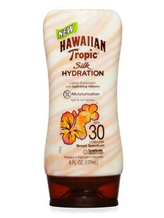hawaiian tropic silk hydration spf 30 sunscreen- haven't tried yet, but smells good (kind of like a baby powder scent)