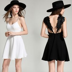 Fashion sexy backless lace angel wings dress - Thumbnail 3