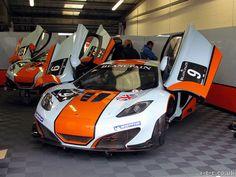 The Gulf Racing UK McLarens in the garage